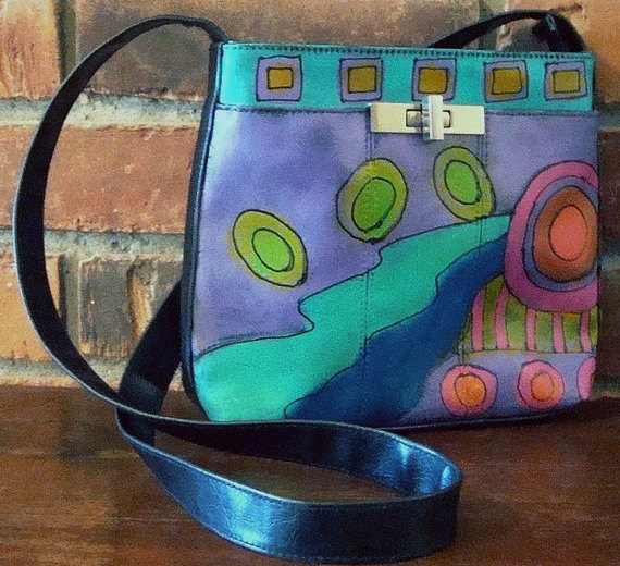 Hand Painted Handbag with My Funky Abstract Painting