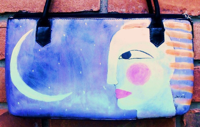 Hand Painted Handbag with My Funky Abstract Woman with Moon and Sun Painting