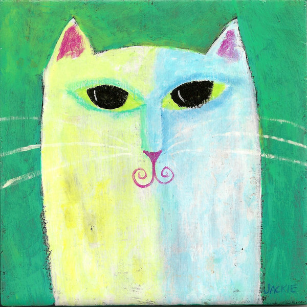 Hand Painted Ceramic Tile with My Funky Abstract Painting of a White Cat