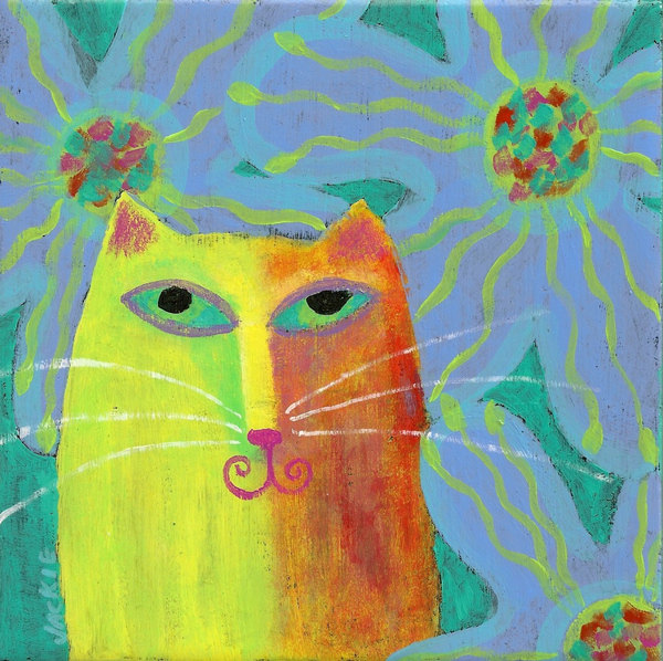 Hand Painted Ceramic Tile with Funky Abstract Portrait of a Cat