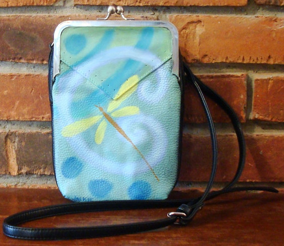 Hand Painted Handbag with My Funky Abstract Dragonfly Design