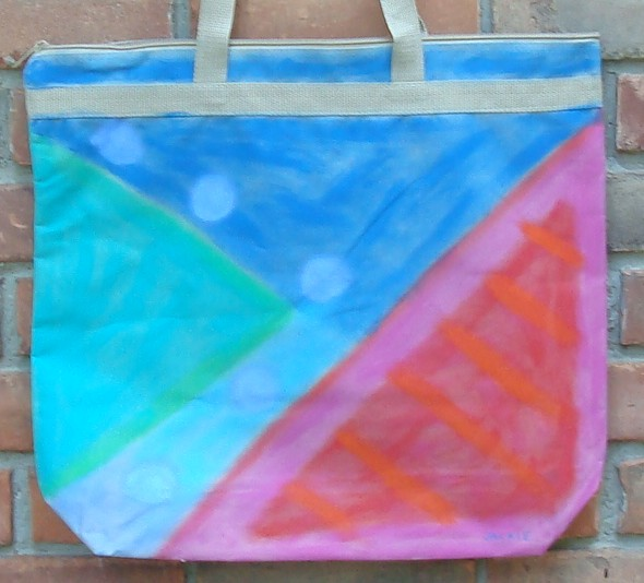 Hand Painted Large Tote Bag with My Funky Abstract Painting