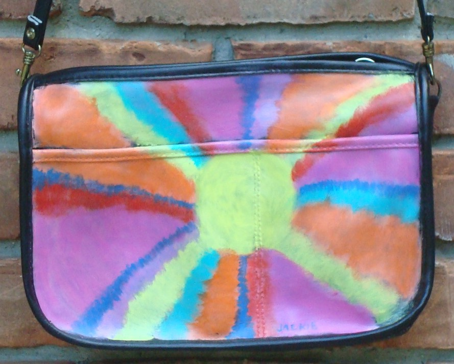 Hand Painted Handbag Hand Painted Purse with My Funky Abstract Sunburst Painting