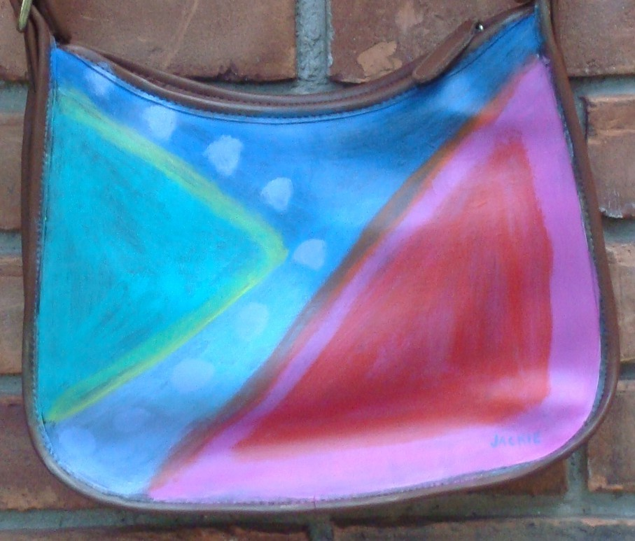 Hand Painted Handbag Hand Painted Purse wtih My Funky Abstract Painting