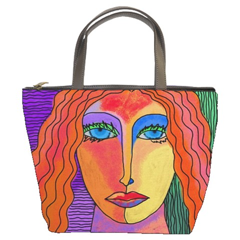 Small Handbag Tote Bag Printed with My Funky Abstract Portrait of a Woman