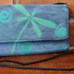 Hand Painted Handbag Funky Abstract Dragonfly