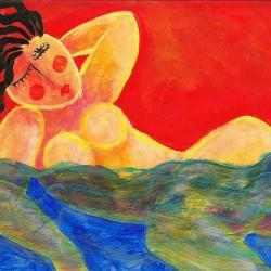 Hand Painted Ceramic Tile with Funky Abstract Portrait of Woman Swimming in the Ocean