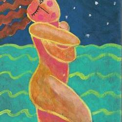 Hand Painted Ceramic Tile With Funky Abstract Painting of Woman Wading in the Ocean